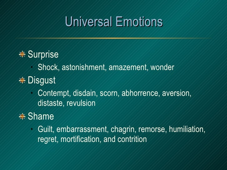 Universal Emotions <ul><li>Surprise </li></ul><ul><ul><li>Shock, astonishment, amazement, wonder </li></ul></ul><ul><li>Di...
