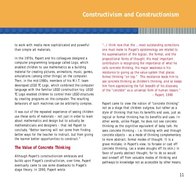 Constructivism and Constructionism 11 to work with media more sophisticated and powerful than simple art materials. In the...