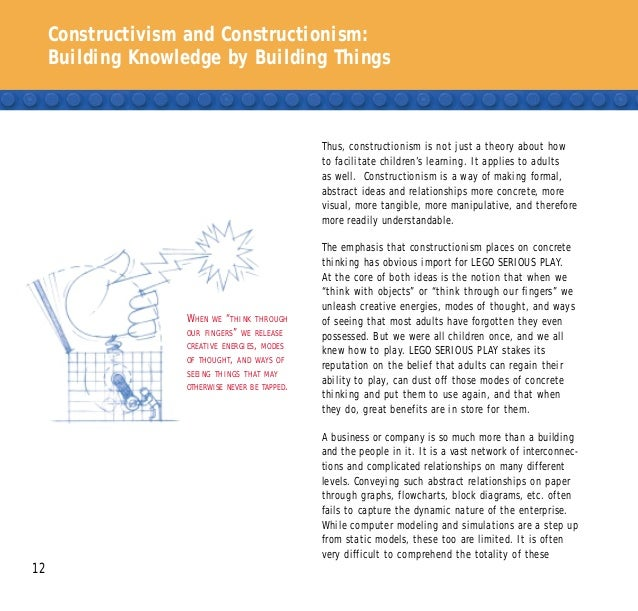 Constructivism and Constructionism: Building Knowledge by Building Things 12 Thus, constructionism is not just a theory ab...