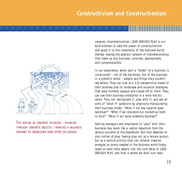 Constructivism and Constructionism 13 complex interrelationships. LEGO SERIOUS PLAY is our bold attempt to take the power ...