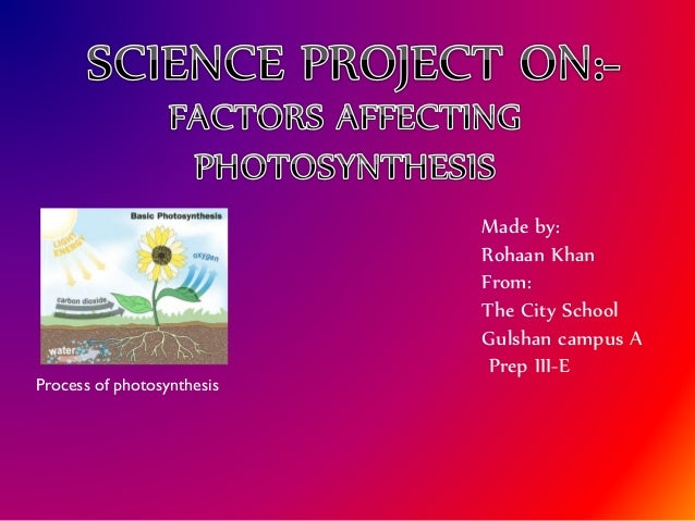 Process of photosynthesis  Made by: Rohaan Khan From: The City School Gulshan campus A Prep III-E