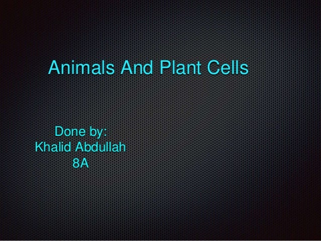 Animals And Plant Cells Done by: Khalid Abdullah 8A