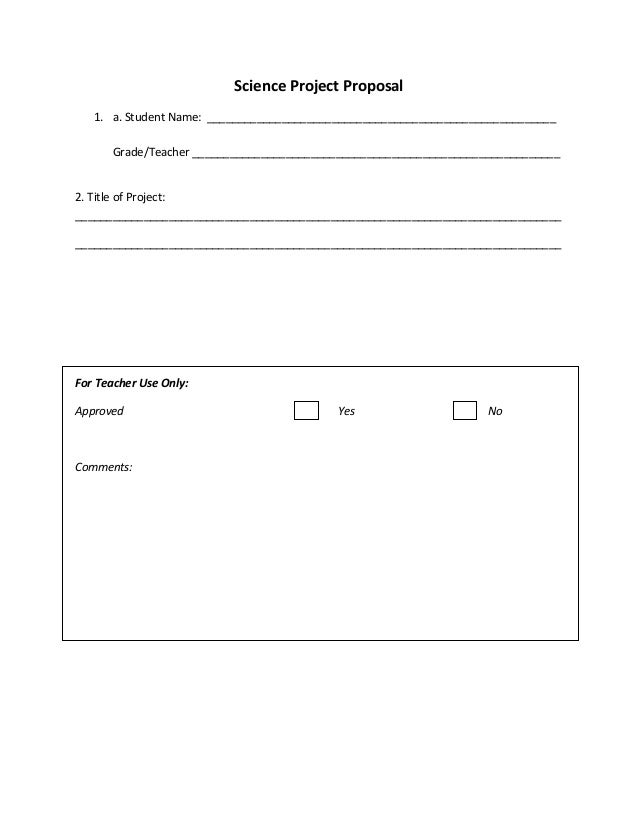 Science Project Proposal Form