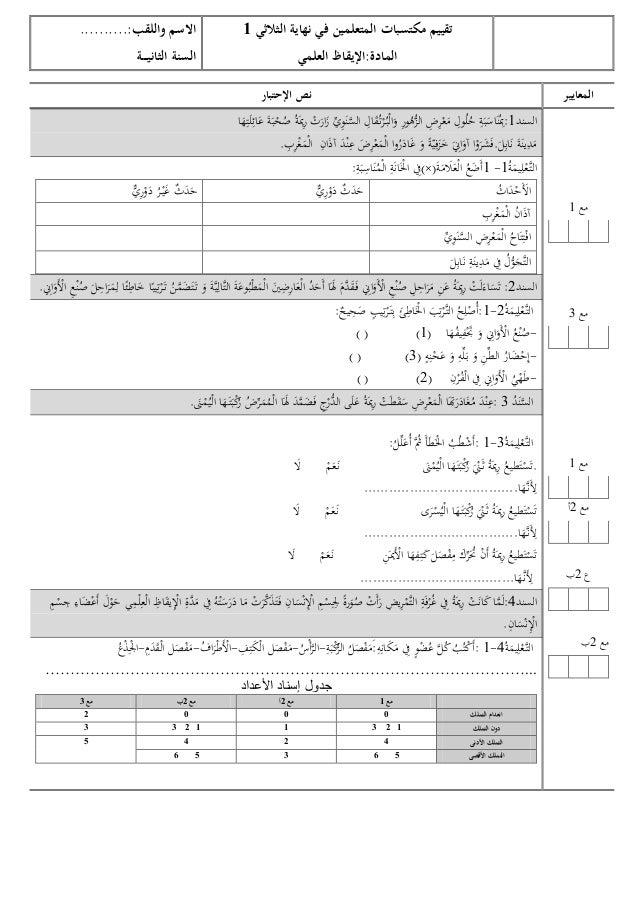 تقييم مكتسبات المتعلمين في نهاية الثالثي 1 المادة:اإليقاظ العلمي  المعايير  مع 1  مع 3  مع 1 مع 2أ  ع 2ب  ...
