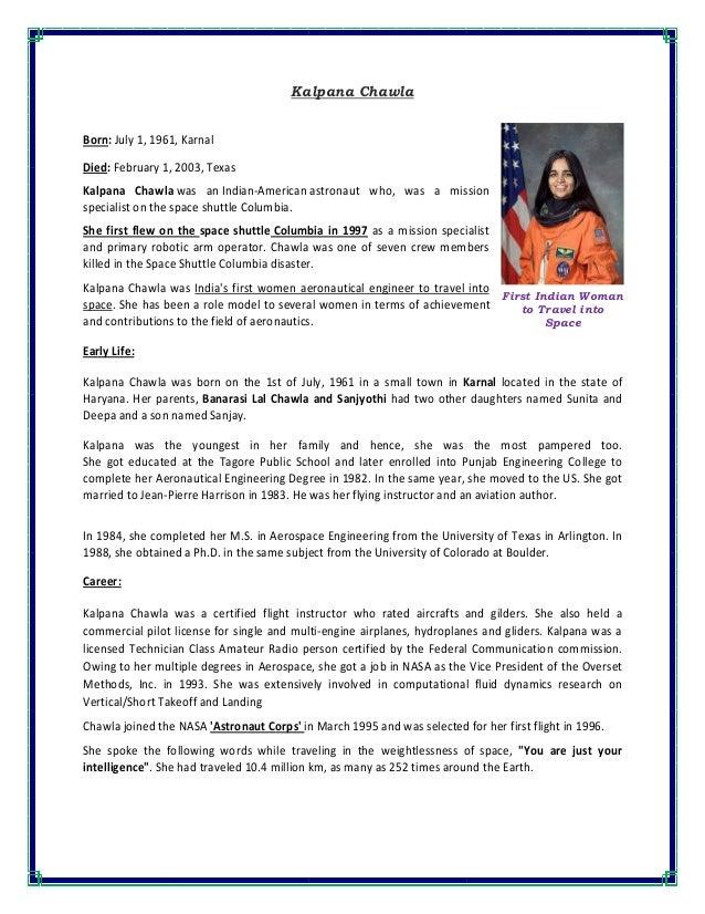 essay on kalpana chawala in punjabi language