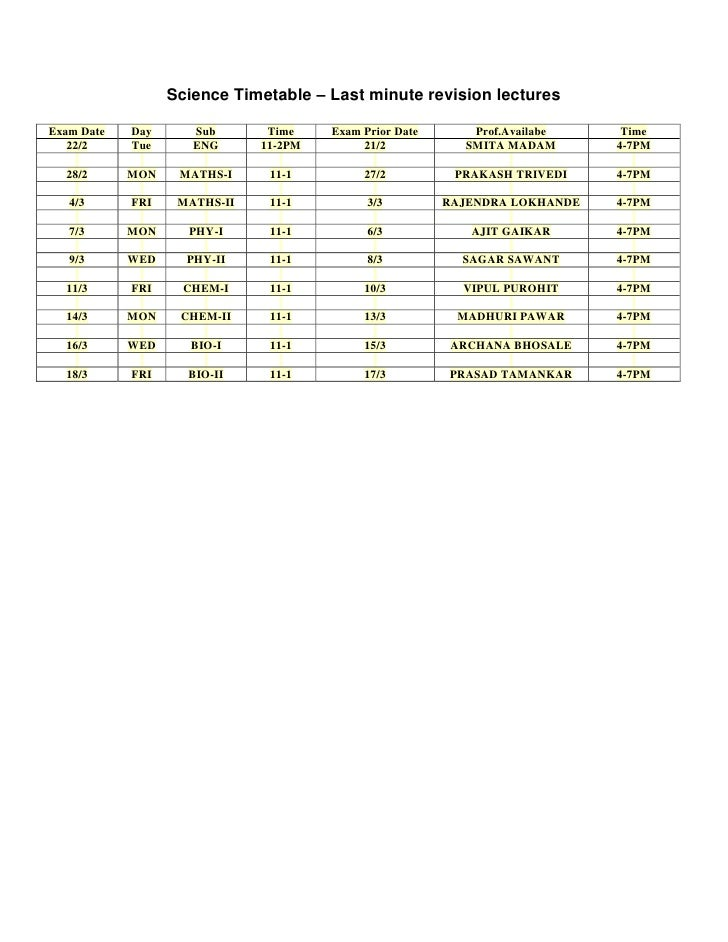 Science Timetable – Last minute revision lecturesExam Date   Day      Sub       Time    Exam Prior Date      Prof.Availabe...