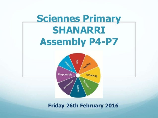 Sciennes Primary SHANARRI Assembly P4-P7 Friday 26th February 2016