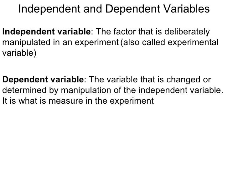 Independent and dependent variables.