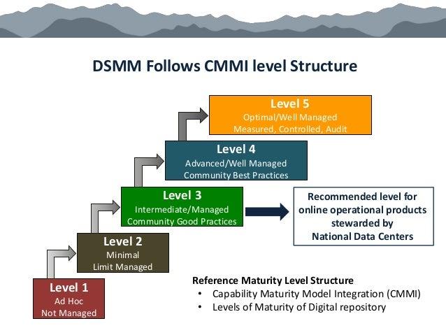 DSMM Follows CMMI level Structure Level 1 Ad Hoc Not Managed Level 2 Minimal Limit Managed Level 3 Intermediate/Managed Co...