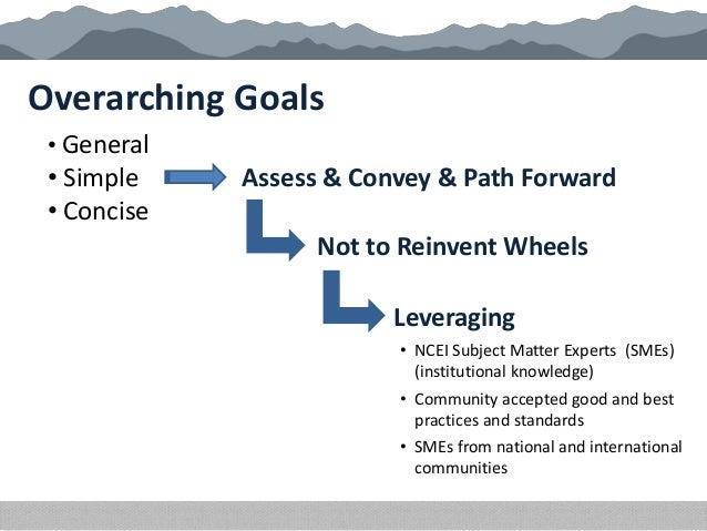 Overarching Goals • General • Simple • Concise Assess & Convey & Path Forward Not to Reinvent Wheels Leveraging • NCEI Sub...