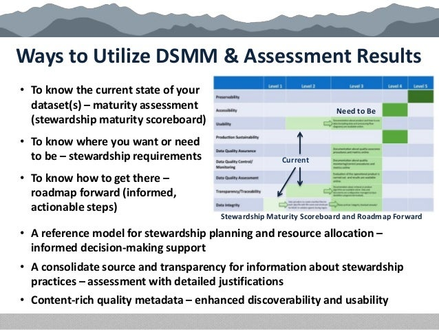 Ways to Utilize DSMM & Assessment Results • To know the current state of your dataset(s) – maturity assessment (stewardshi...