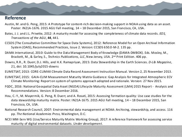 Reference Austin, M. and G. Peng, 2015: A Prototype for content-rich decision-making support in NOAA using data as an asse...