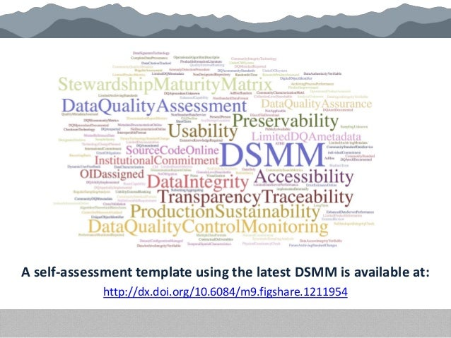 A self-assessment template using the latest DSMM is available at: http://dx.doi.org/10.6084/m9.figshare.1211954