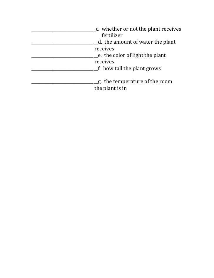 Scientific Method Variables Worksheet