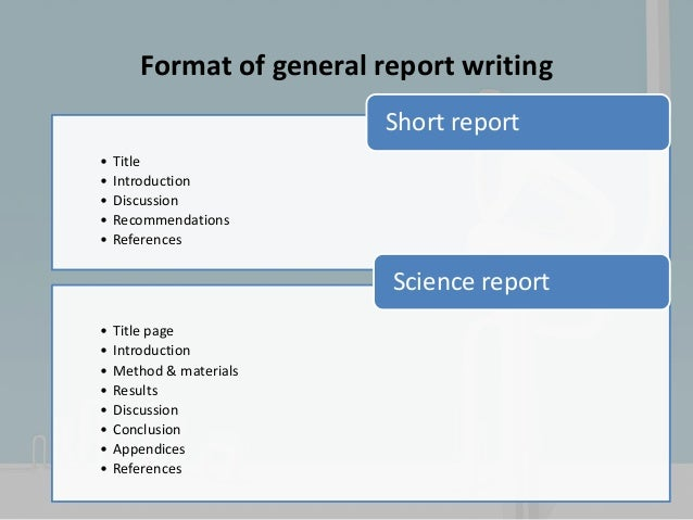 Scientific report writing – Scientific Report