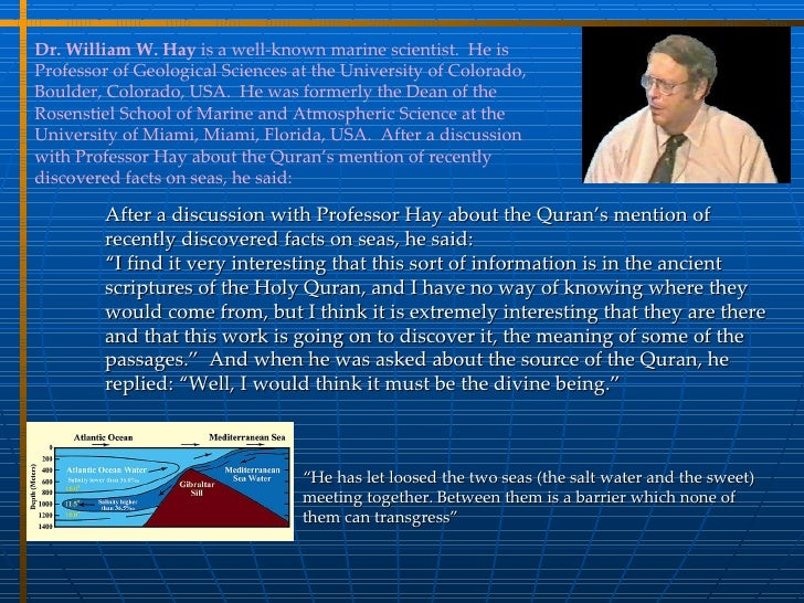 Modern Scientists Comments on Quran