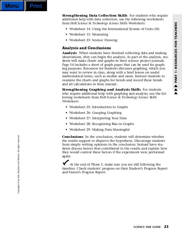 Sci fair – Holt Science and Technology Worksheets
