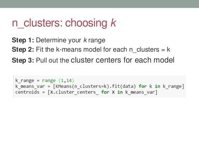 n_clusters: choosing k Step 1: Determine your k range Step 2: Fit the k-means model for each n_clusters = k Step 3: Pull o...