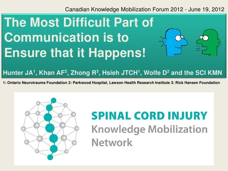 Canadian Knowledge Mobilization Forum 2012 - June 19, 2012The Most Difficult Part ofCommunication is toEnsure that it Happ...