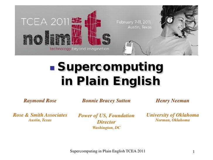     Supercomputing                      in Plain English    Raymond Rose                Bonnie Bracey Sutton             ...