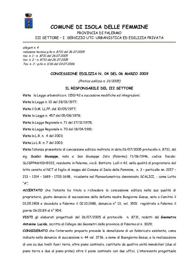 COMUNE DI ISOLA DELLE FEMMINE PROVINCIA DI PALERMO III SETTORE – I SERVIZIO UTC: URBANISTICA ED EDILIZIA PRIVATA allegati ...