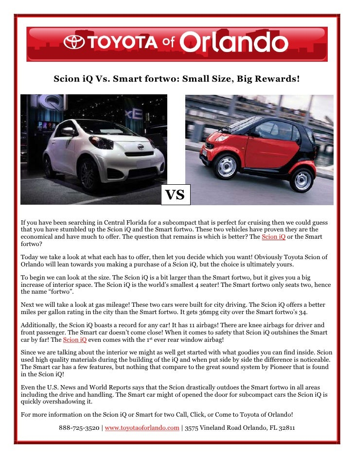 Scion Iq Vs Smart Fortwo In Orlando