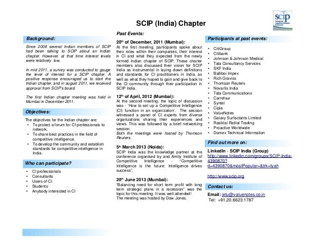 SCIP (India) Chapter Past Events: Background: Since 2008 several Indian members of SCIP had been talking to SCIP about an ...