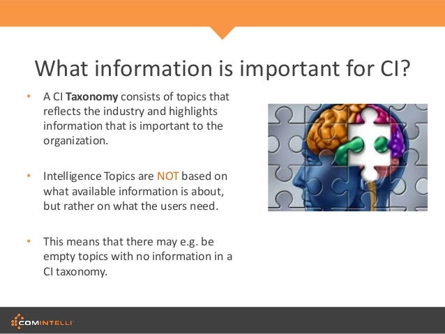 introduction to competitive intelligence Using market intelligence information is everywhere a quick internet search can uncover a whole array of information on any number of topics, with information on customers, suppliers, competitors, distributors and the latest market trends all waiting to be found however, the amount of information available does not.