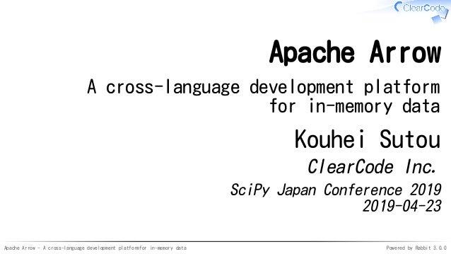 Apache Arrow - A cross-language development platformfor in-memory data Powered by Rabbit 3.0.0 Apache Arrow A cross-langua...