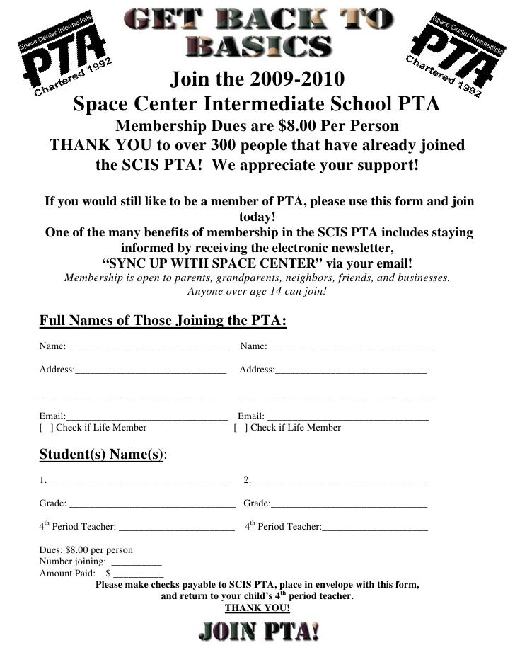 Join the 2009-2010        Space Center Intermediate School PTA          Membership Dues are $8.00 Per Person   THANK YOU t...
