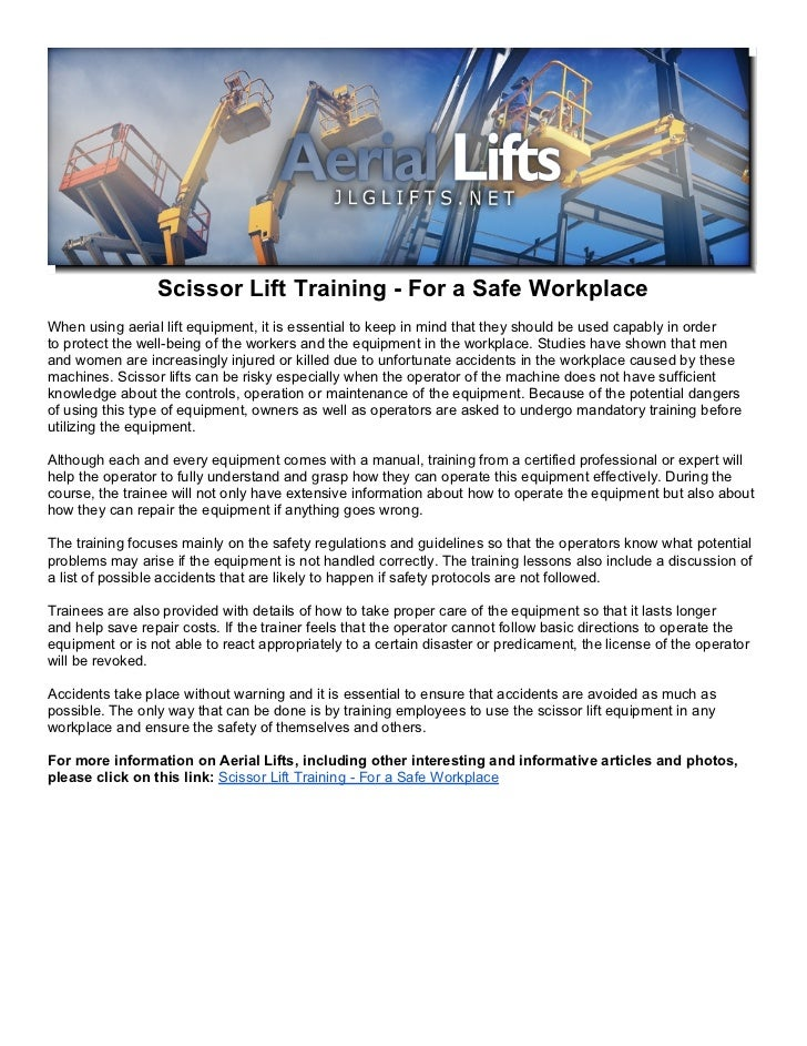 Scissor Lift Training For A Safe Workplace