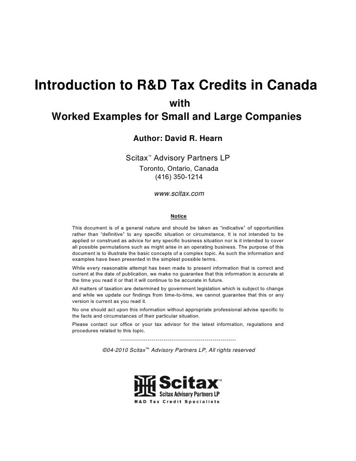 Introduction to R&D Tax Credits in Canada                        with   Worked Examples for Small and Large Companies     ...