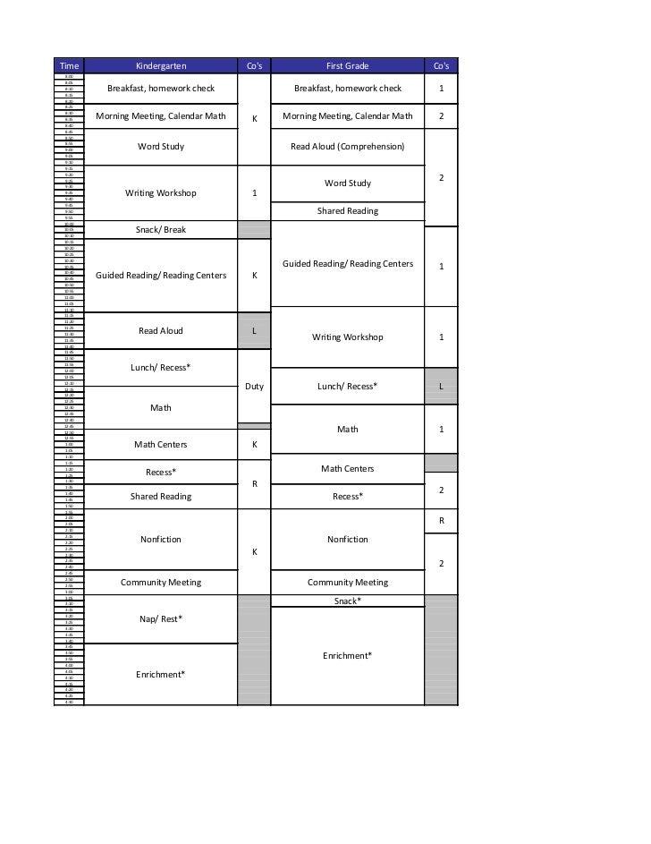 Time             Kindergarten             Cos             First Grade             Cos8:008:058:10      Breakfast, homework...