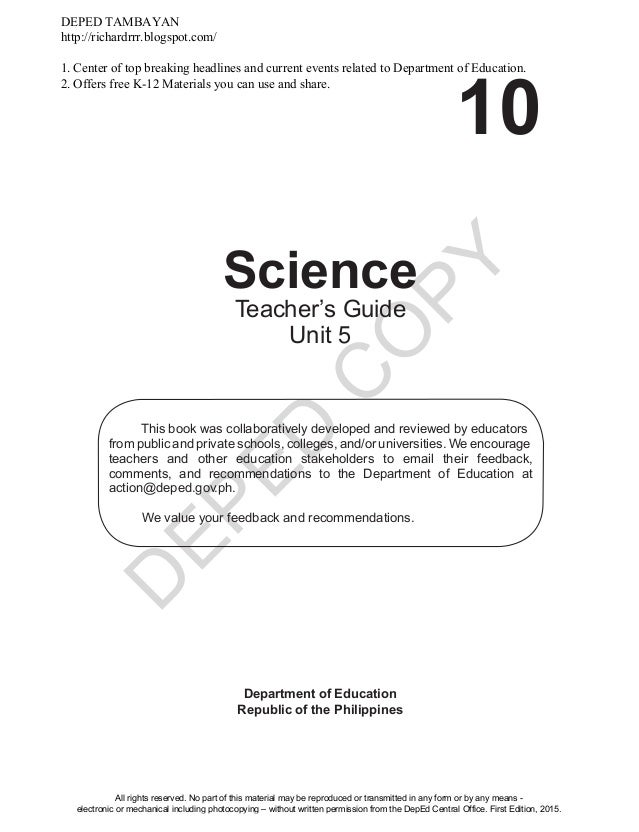 Grade 10 sci module teachers guide unit 3 d eped c o py 10 science department of education republic of the philippines this book fandeluxe Choice Image