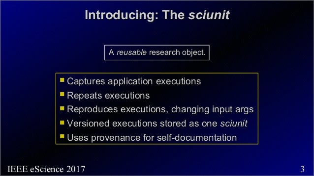 Sciunits: Resuable Research Object  Slide 3