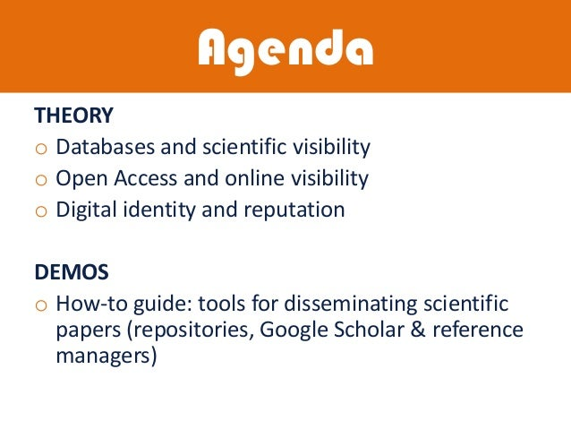 Disseminating your research. Scientific profiles and tools Slide 2