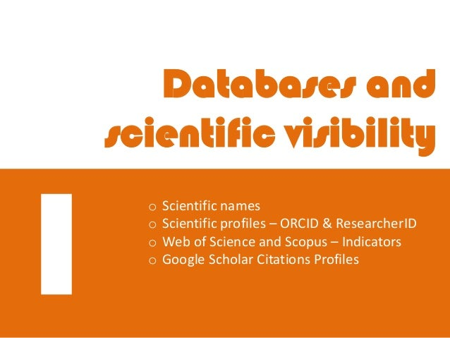Disseminating your research. Scientific profiles and tools Slide 3