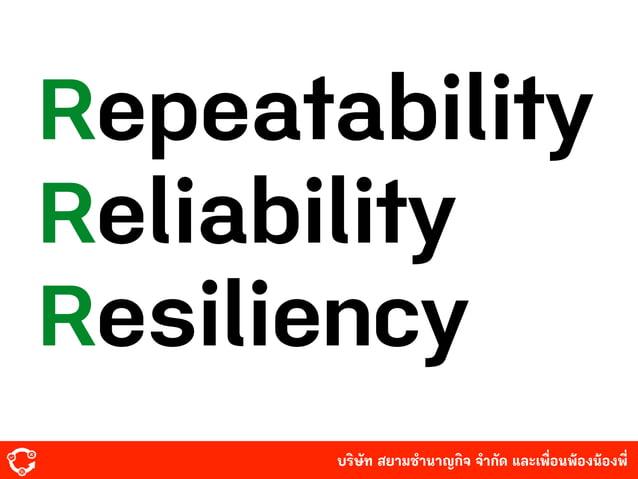 บริษัท สยามํานาญกิจ จํากัด และเพื่อนพ้องน้องพี่ Repeatability Reliability Resiliency