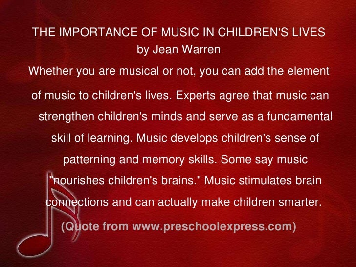 importance of music and movement