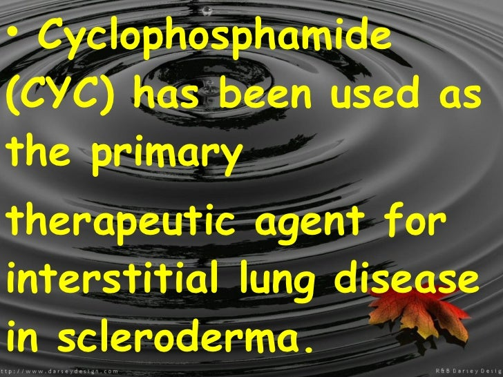 <ul><li>Cyclophosphamide (CYC) has been used as the primary </li></ul><ul><li>therapeutic agent for interstitial lung dise...