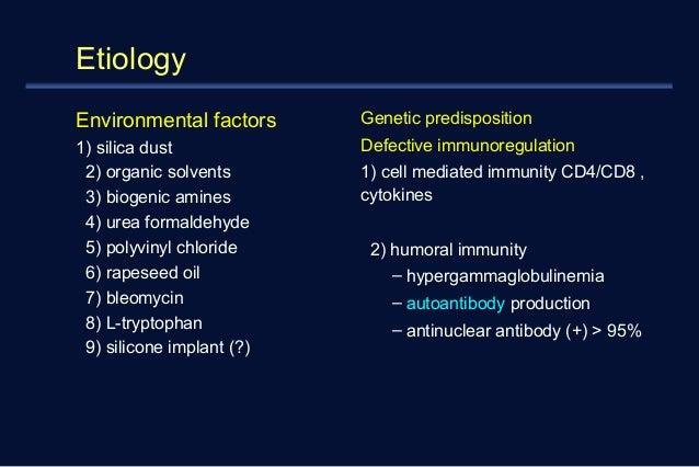 Etiology  Environmental factors  1) silica dust  2) organic solvents  3) biogenic amines  4) urea formaldehyde  5) polyvin...