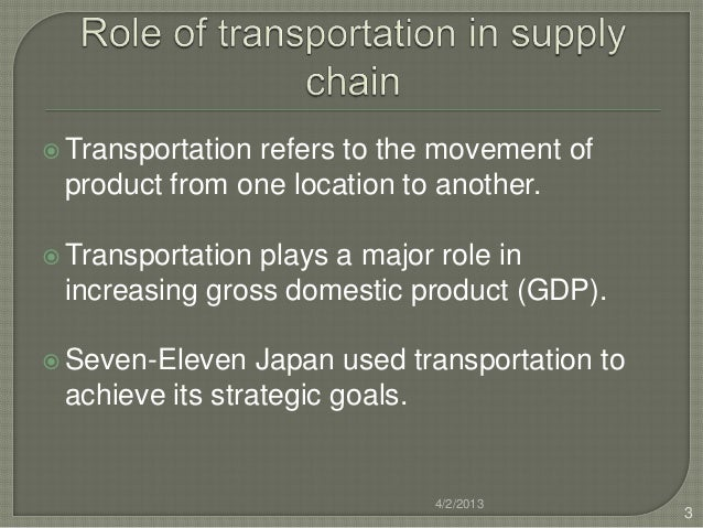  Transportation               refers to the movement of product from one location to another. Transportationplays a majo...