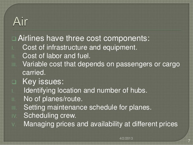  Airlines    have three cost components:I.     Cost of infrastructure and equipment.II.    Cost of labor and fuel.III.   ...