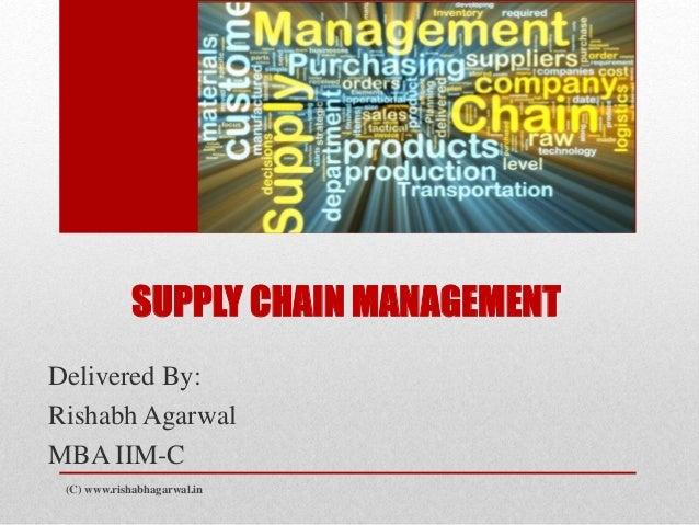 SUPPLY CHAIN MANAGEMENT  Delivered By:  Rishabh Agarwal  MBA IIM-C  (C) www.rishabhagarwal.in