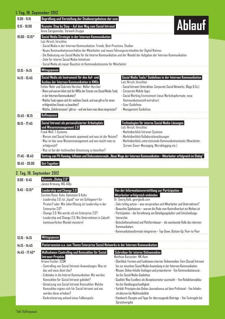1. Tag, 18. September 2012 9.00 - 9.15         Begrüßung und Vorstellung der Studienergebnisse der scm 9.15 - 10.00       ...