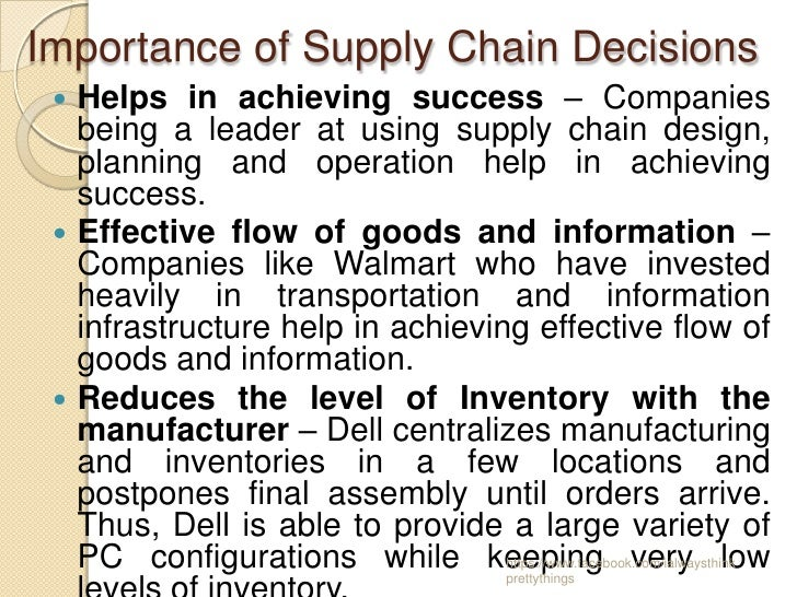 importance of supply chain management for The strategic supply chain processes that management has to decide will cover the breadth of the supply chain, including product development and more.