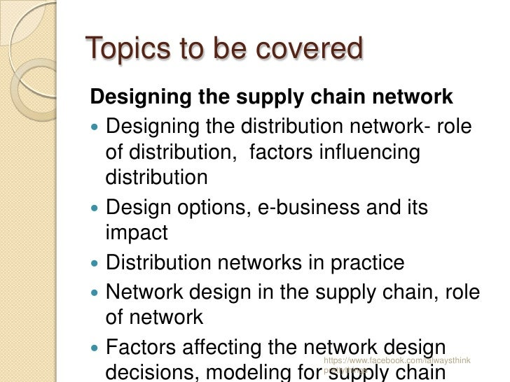 designing effective supply chains Volume 12, number 2 2001 page 13 supply chain management is increasingly being recognized as the integration of key business processes across the supply chain.