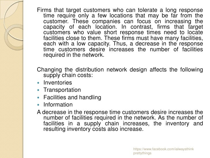 Firms that target customers who can tolerate a long response   time require only a few locations that may be far from the ...
