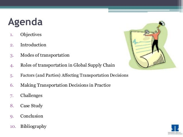 supply chain management transportation mba project
