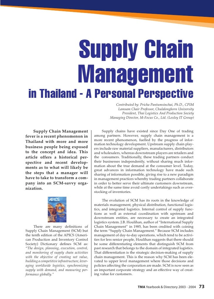 Supply Chain                                      Management   in Thailand - A Personal Perspective                       ...